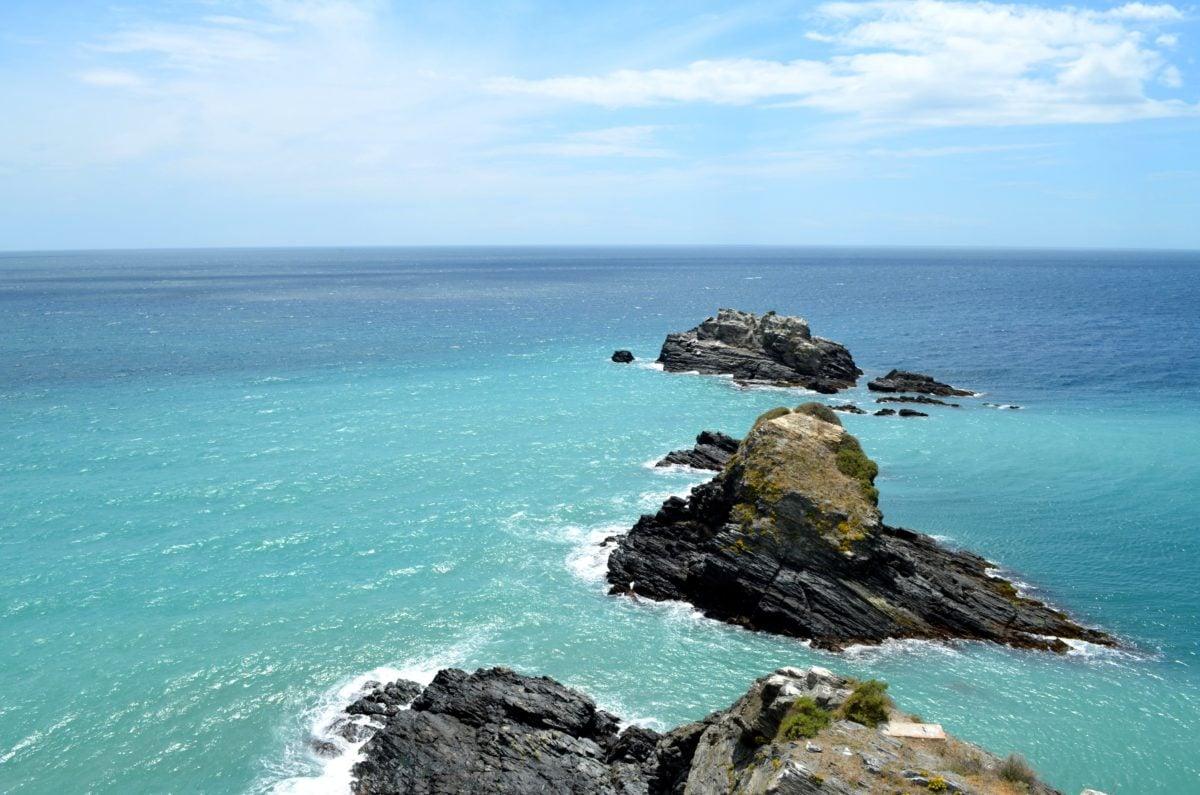 seashore, island, blue sky, beach, landscape, water, horizon, ocean, sea, coast