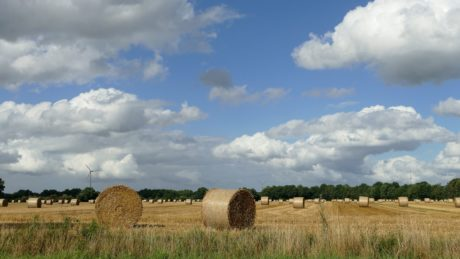 straw, blue sky, haystack, landscape, countryside, farmland, agriculture