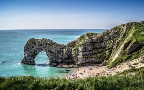 seashore, ocean, stone formation, blue sky, water, beach, sea, landscape, nature