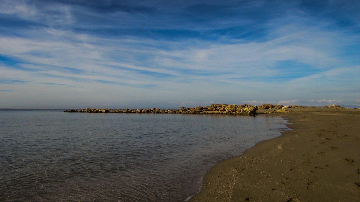water, landscape, sea, sunset, beach, shoreline, shore, blue sky