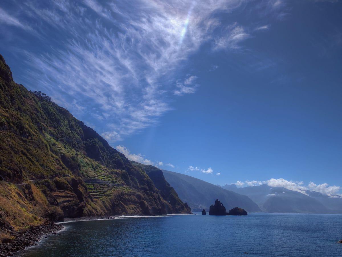 landscape, mountain, water, sky, sea, cape, lake, ocean, coast
