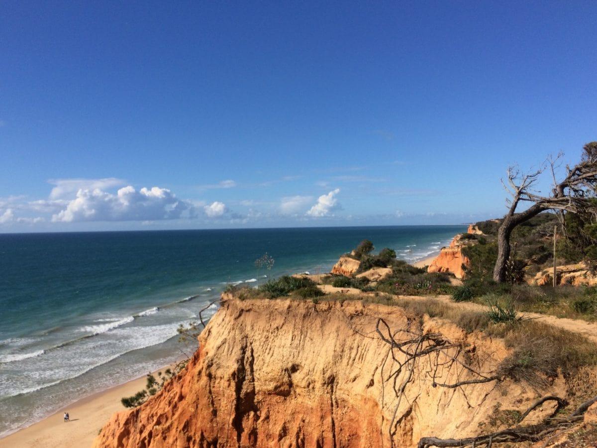 sand, blue sky, summer, water, sea, nature, seashore, beach, cliff
