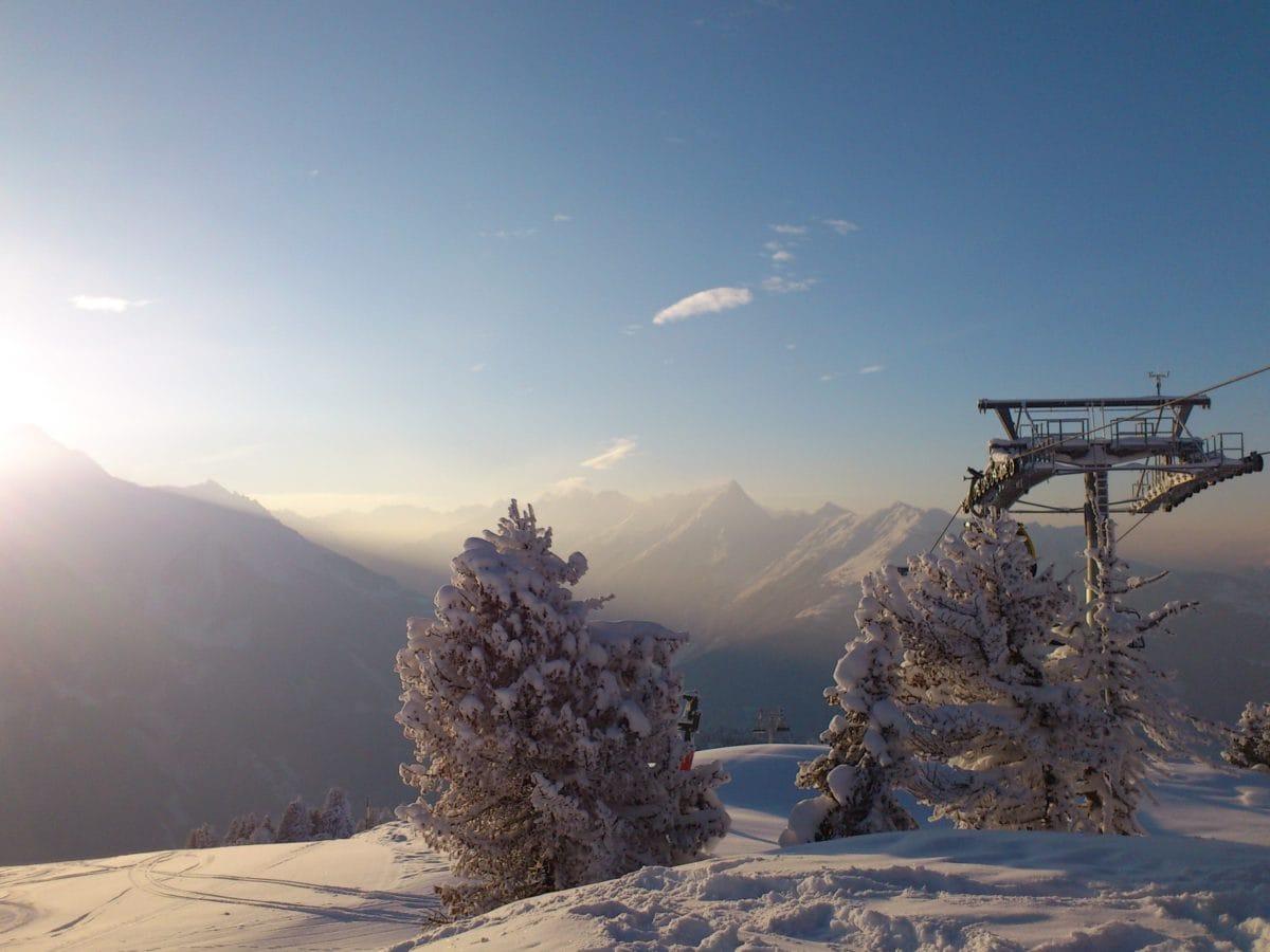 mountain, blue sky, sunshine, snow, dawn, landscape, winter, valley, outdoor