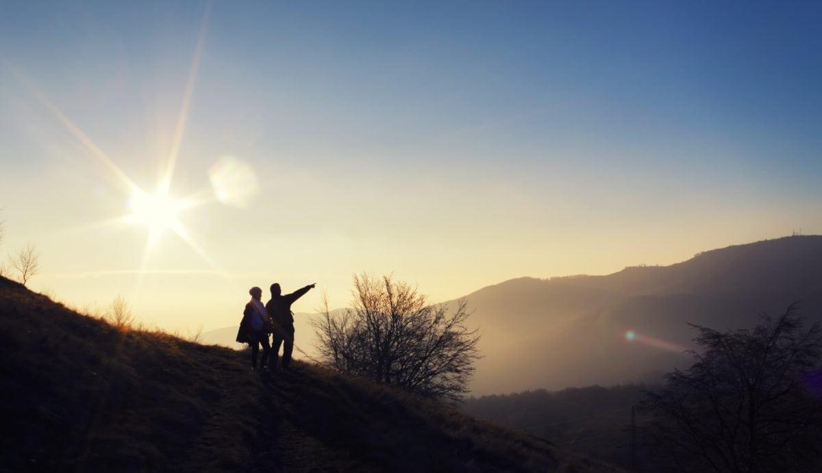 dawn, landscape, sun, silhouette, backlit, sunset, sky, dusk