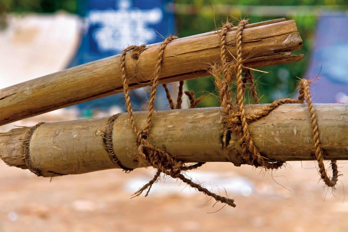 kötél, bambusz, nád, kinti, objektum, fa, napfény, csomó