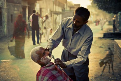barber, man, people, person, shaving, street, city, India