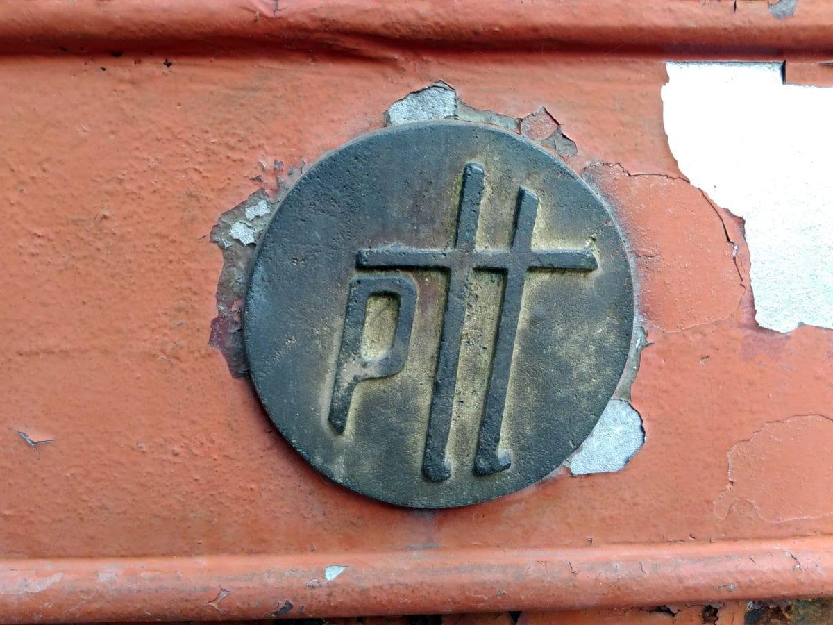 laiton, métal, objet, signe, symbole, vieux, rouille, extérieur, peinture