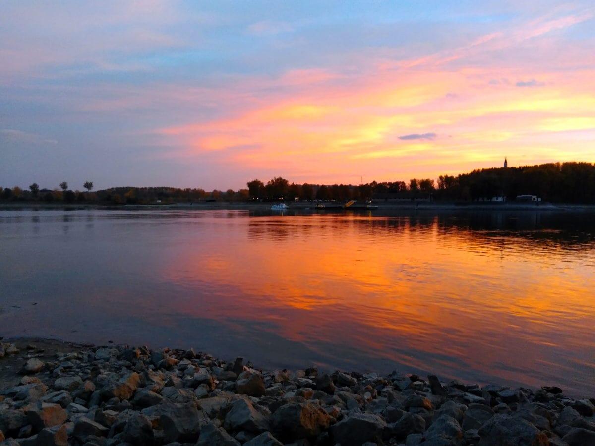 Donau, Morgendämmerung, Dämmerung, Sonnenuntergang, Wasser, Outdoor, Himmel, Fluss