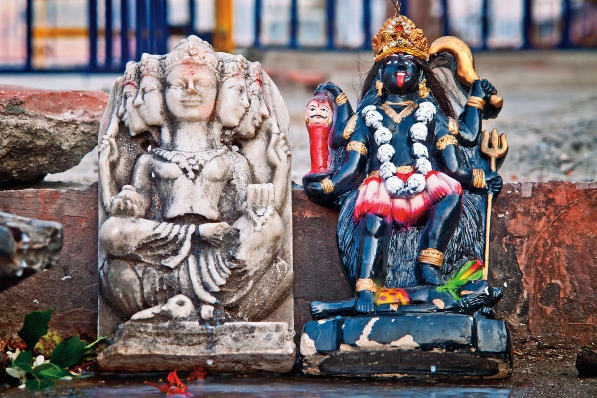 Kunst, Menschen, Religion, Statue, bunte Skulptur, uralt
