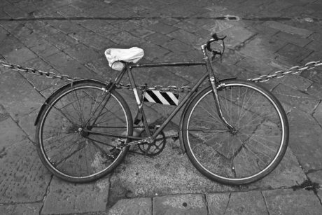 wheel, monochrome, street, pavement, bicycle, brake, sport