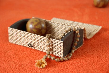 bead, jewelry, box, object, brown, decoration