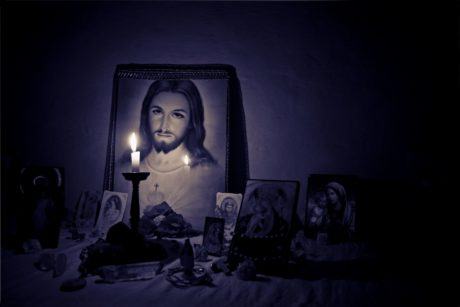 religion, saint, prayer, icon, candle, light, shadow, christianity