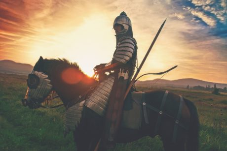 weapon, people, sky, grass, warrior, horse, arrow