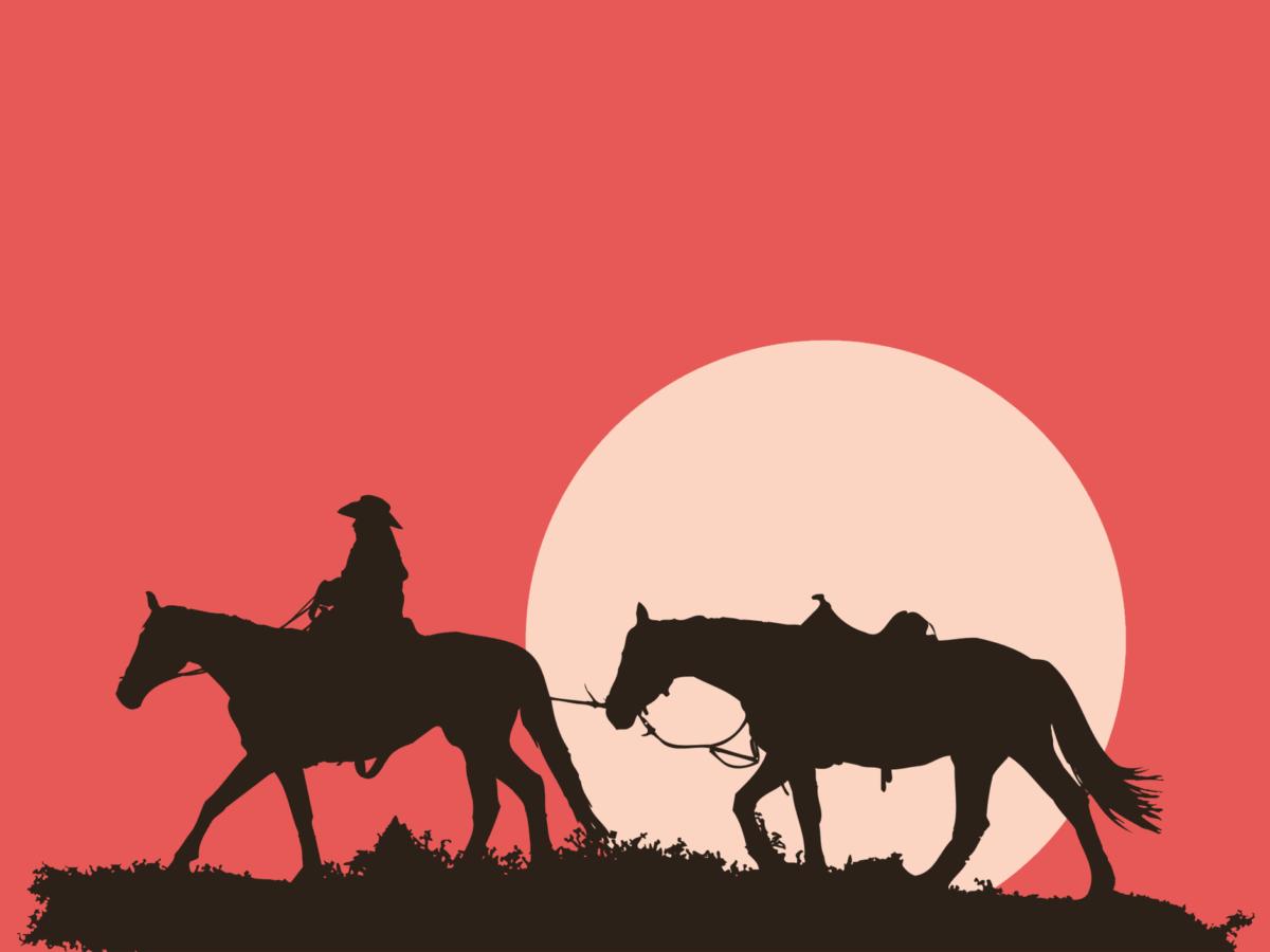 animal, silhouette, cavalry, animal, sunset, cowboy, strip, illustration