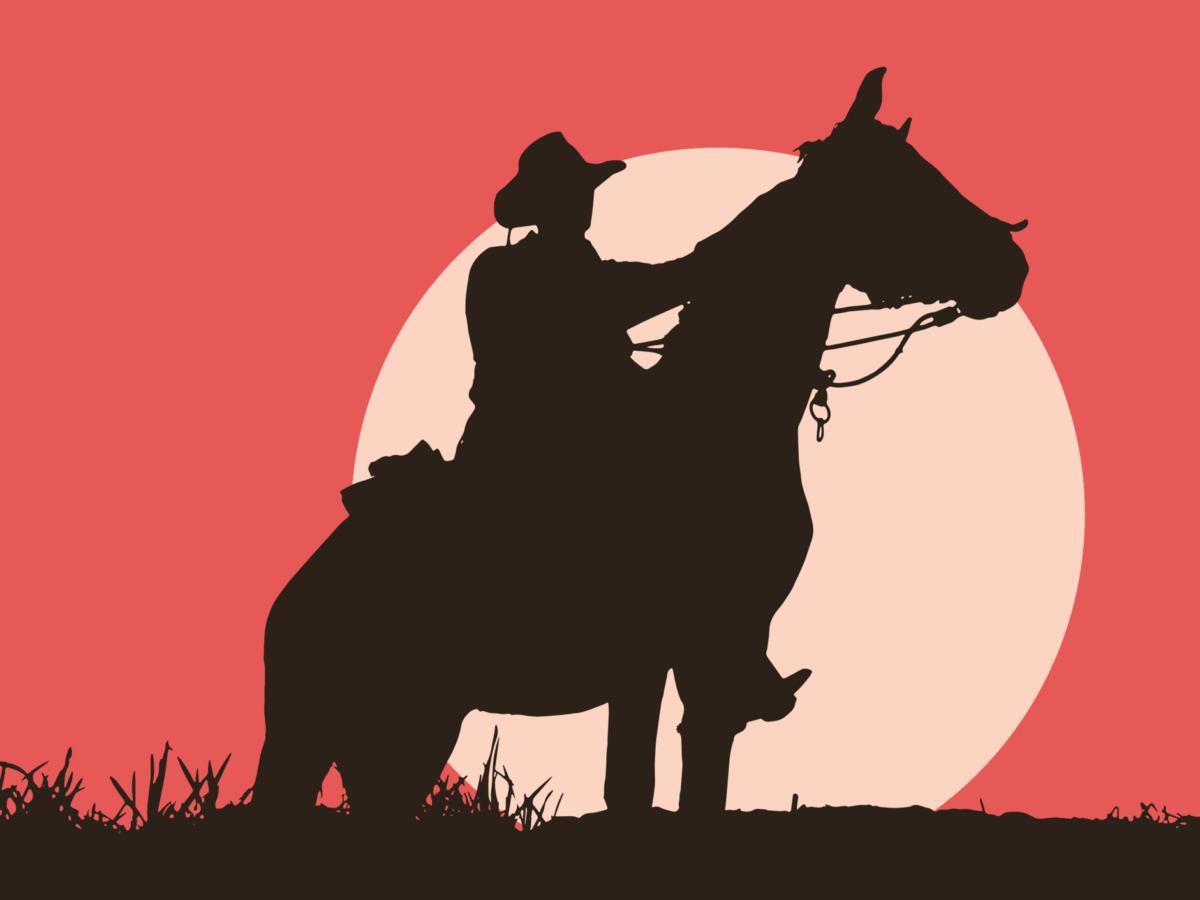 Konjica, životinja, silueta, zalazak sunca, kauboj, strip, ilustracija