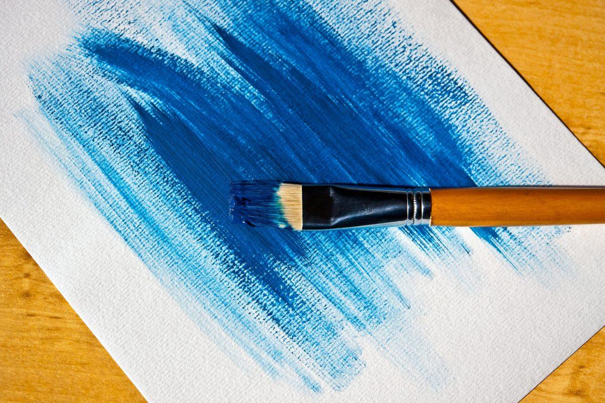 četka, papir, kist, umjetnost, plava