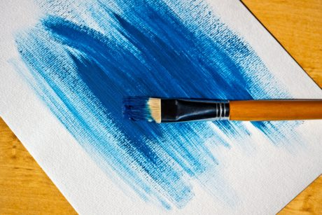 brush, paper, paintbrush, art, blue