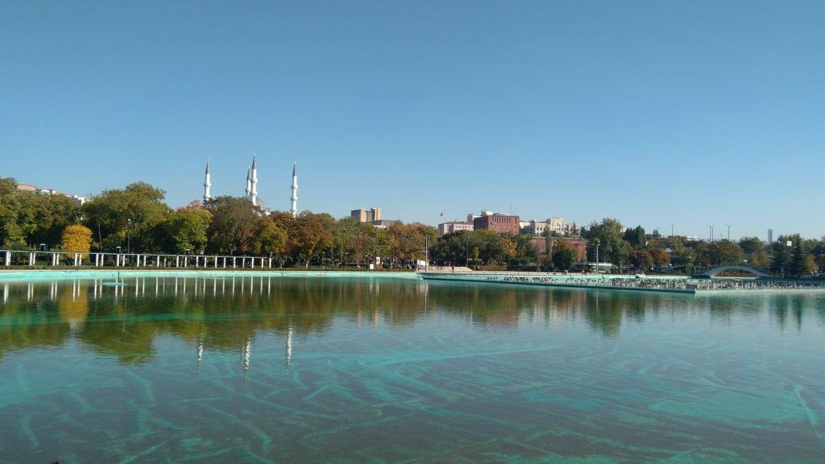 архитектура, град, вода, джамия, басейн, брегова, синьо небе, на открито
