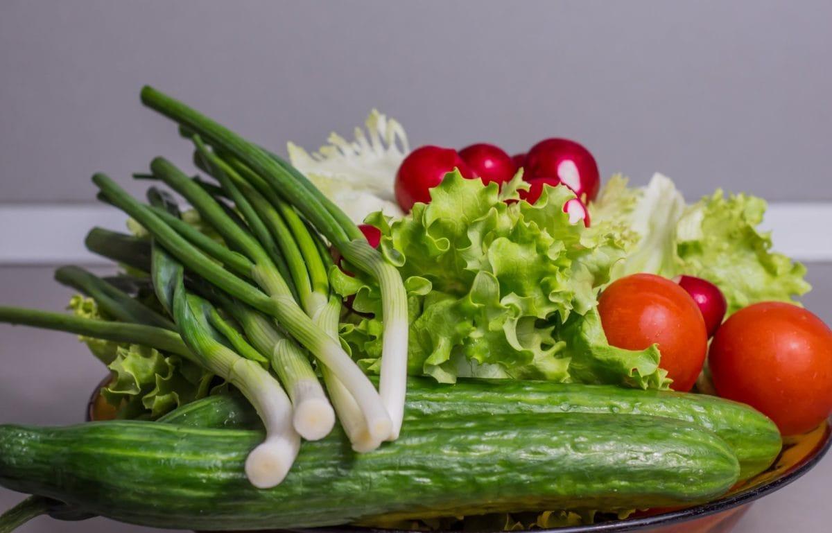 Ensalada, tomate rojo, alimento, verdura, pepino verde, lechuga, cebolla, orgánica