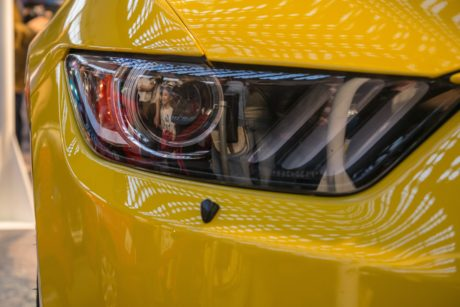 yellow car, headlight, vehicle, classic, modern, reflection
