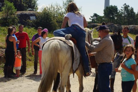 man, child, people, woman, horse, outdoor, sky, event