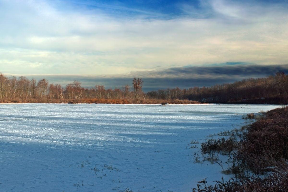 снег, вода, природа, холодная, пейзаж, озеро, дерево, зима, Голубое небо