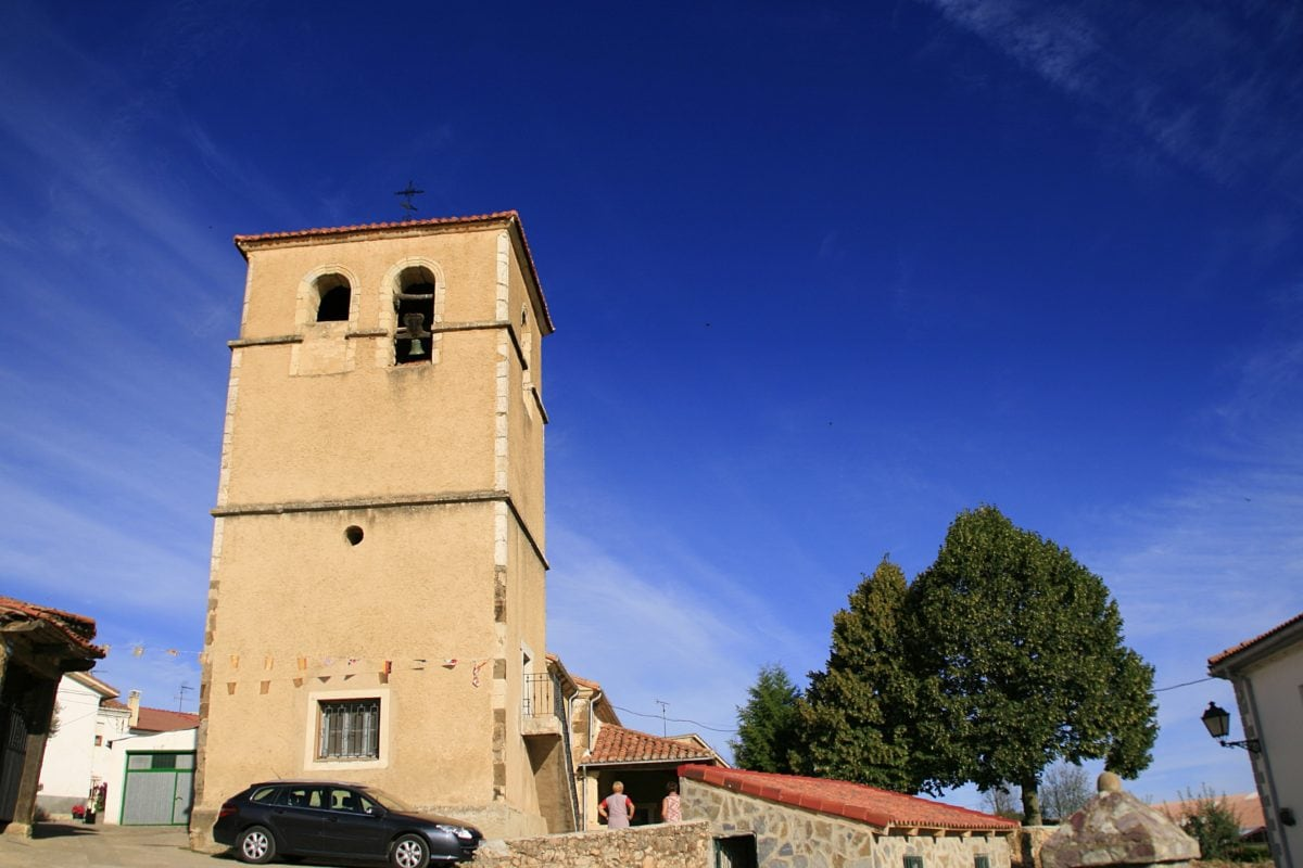 church tower, blue sky, street, car, architecture, shelter, tower, outdoor