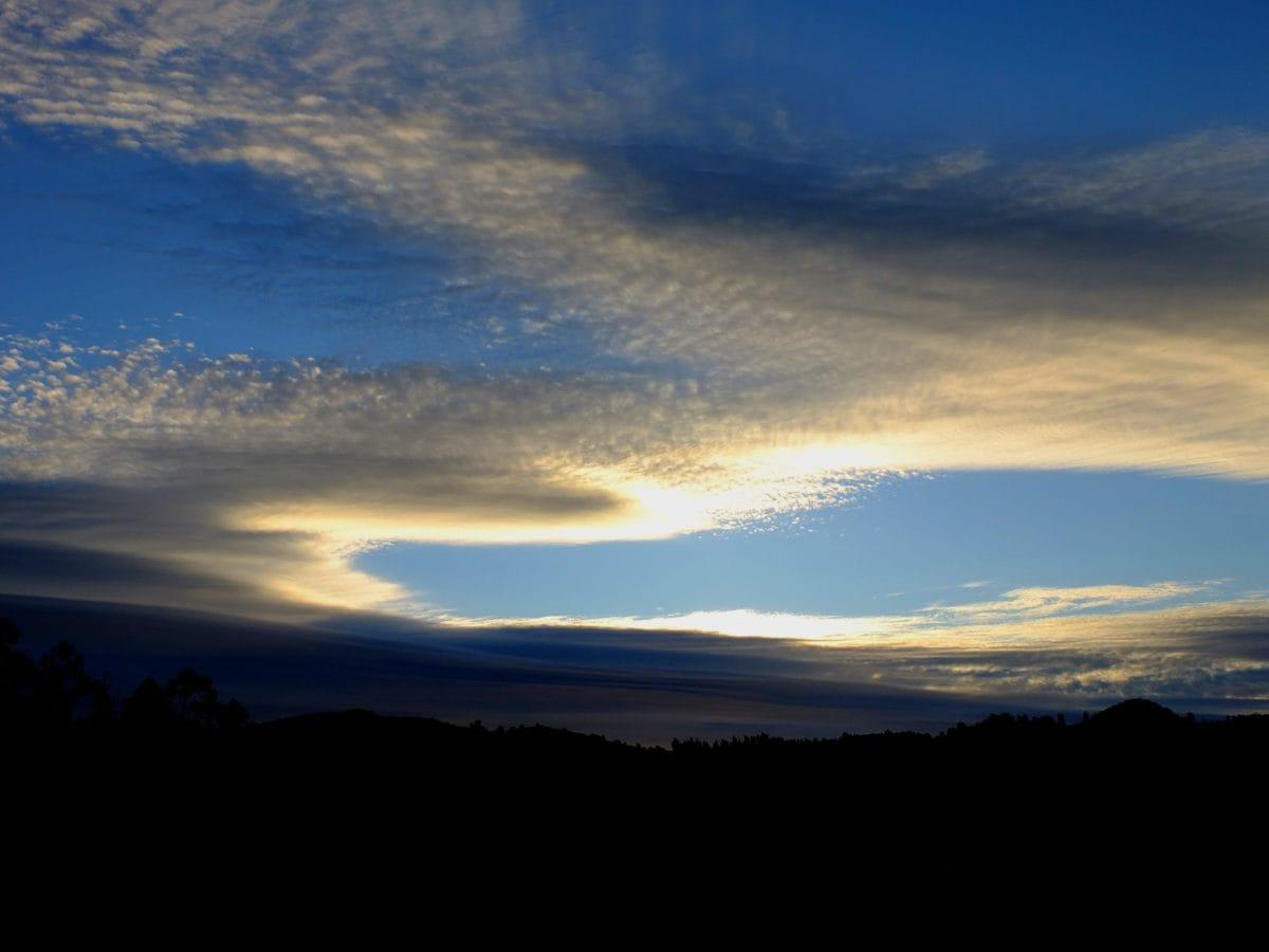 blue sky, nature, sunset, sun, dawn, landscape, dusk, shadow, atmosphere