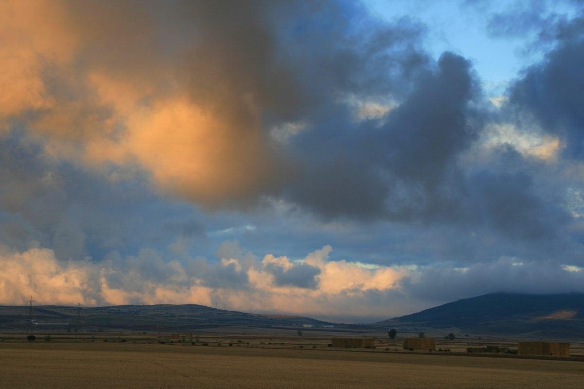 lanskap, matahari terbenam, langit biru, suasana, padang rumput, tanah, Kolam, awan