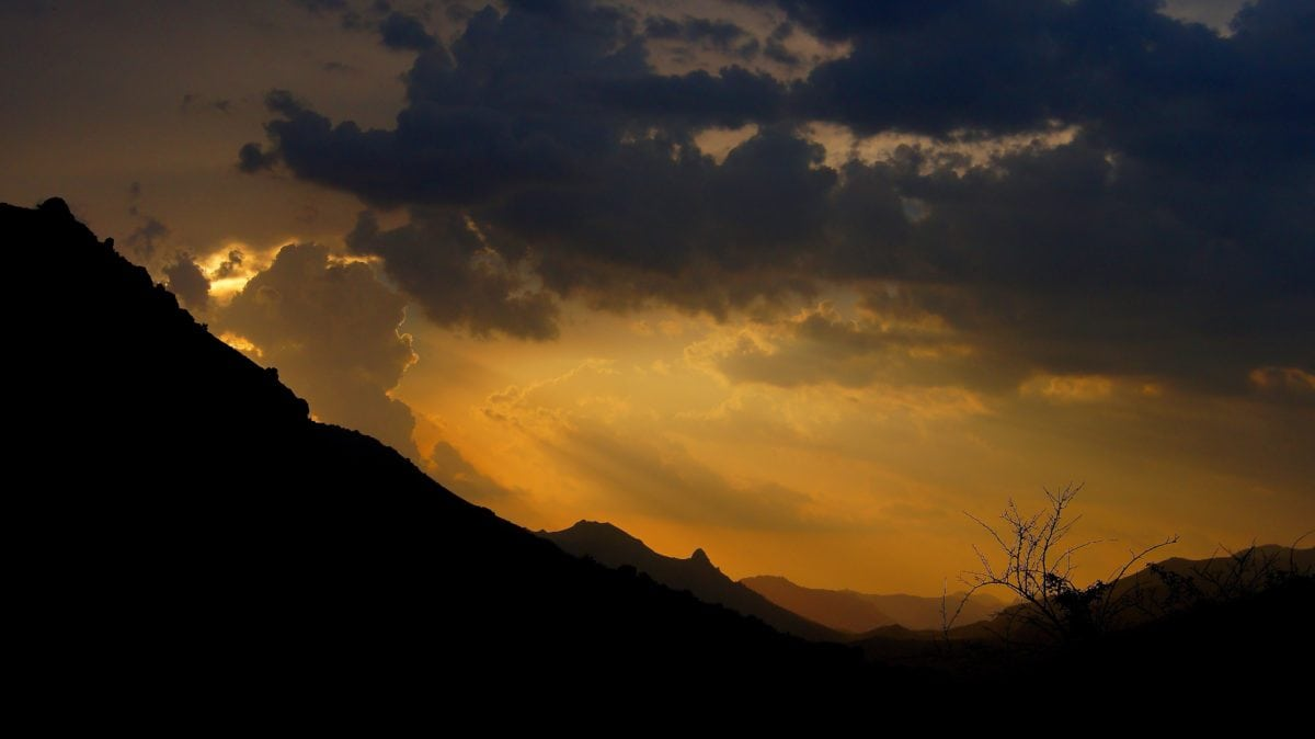 backlit, landscape, sunset, yellow sky, dusk, silhouette, dawn, sun