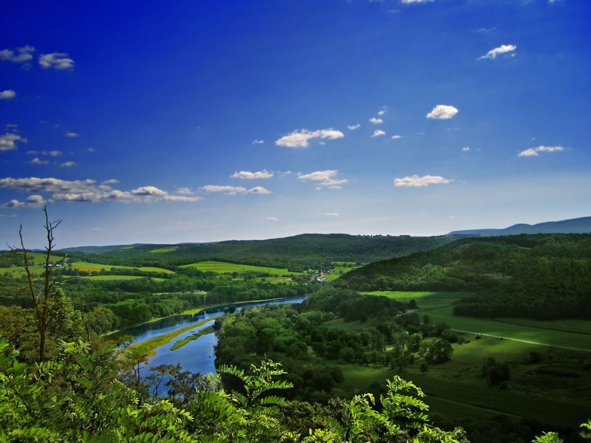 water, river, blue sky, nature, hill, foliage, landscape, mountain, grass, outdoor