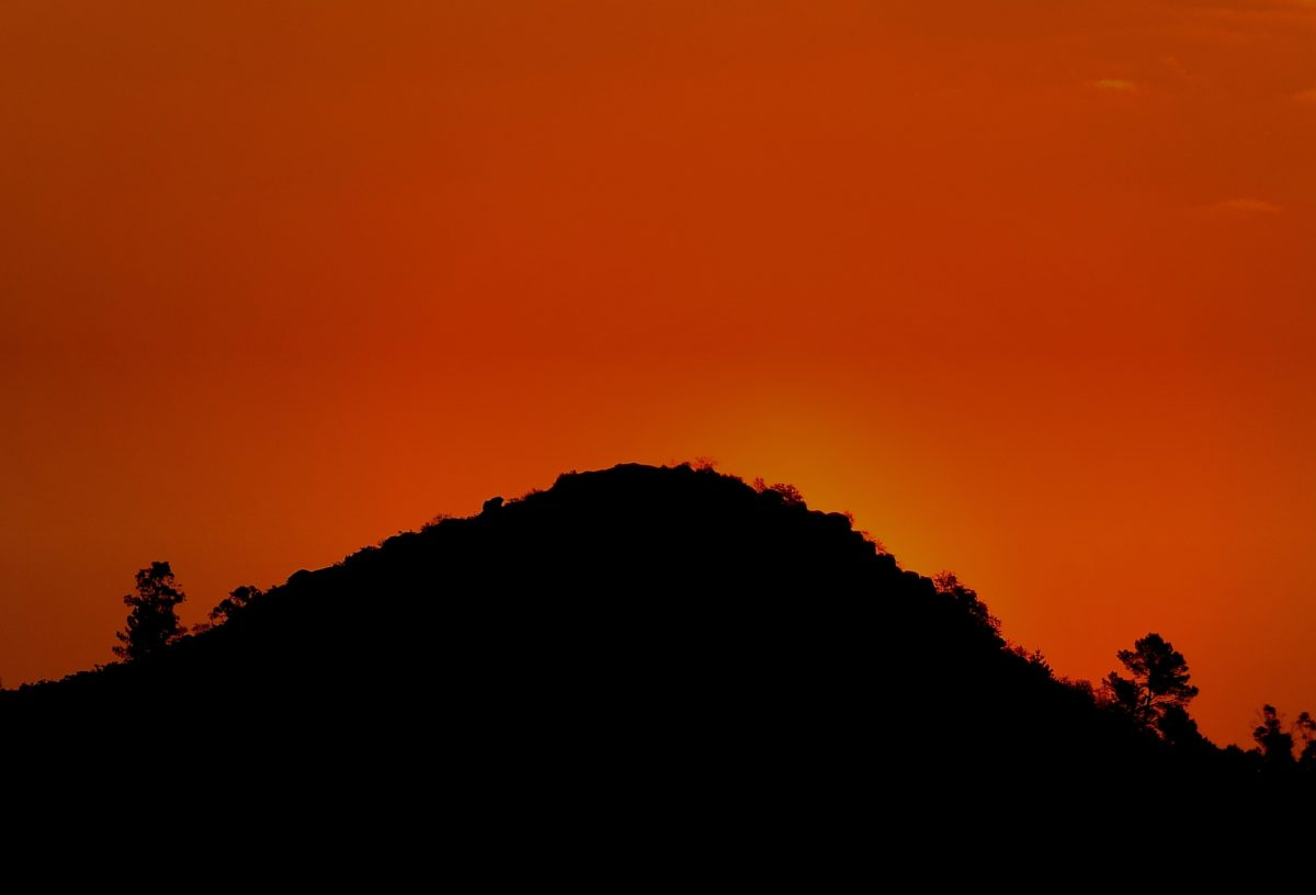 dusk, backlit, silhouette, shadow, dawn, sky, hill, sun, sunset, mountain