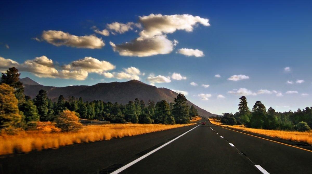 road, sky, asphalt, highway, landscape, expressway, mountain