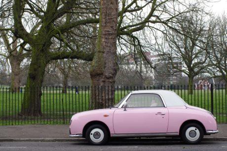 vozidlo, cestné, ružové auto, kupé, hatchback, doprava, strom