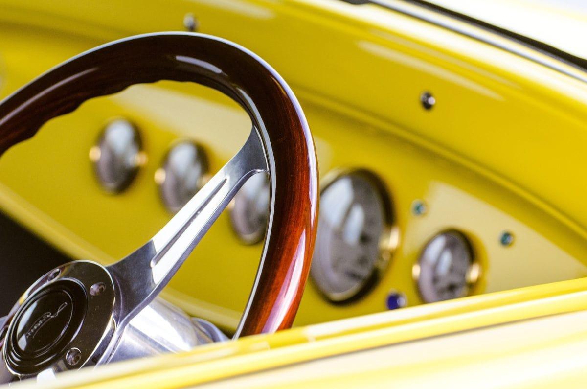 coche rápido, amarillo, rueda, cromo, impulsión, tablero de instrumentos, vehículo, clásico