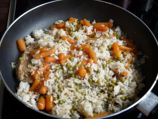 kitchen pan, food, dinner, vegetable, rice, dish, meal, lunch, restaurant
