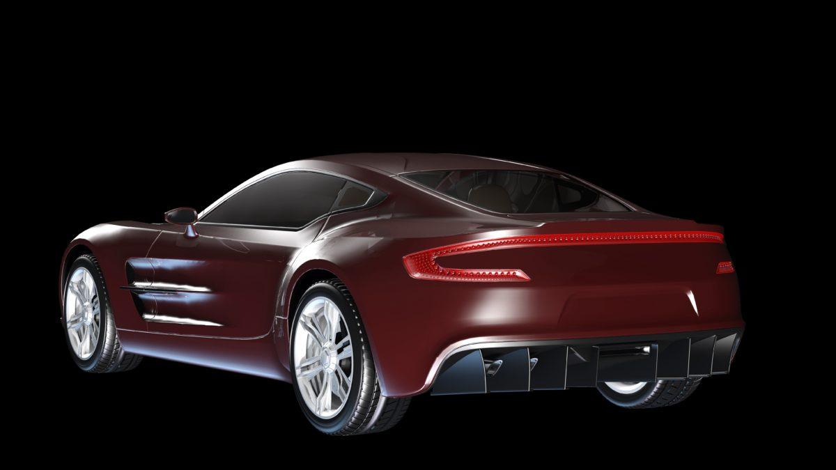 lujo, vehículo, Coupe, coche rojo, cromo, automotor