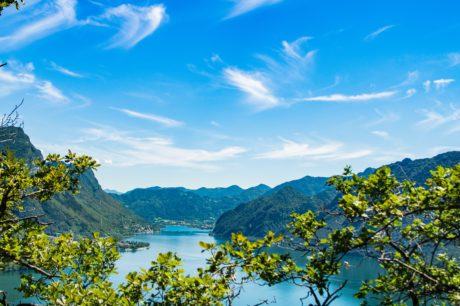 water, lake, landscape, blue sky, nature, tree, mountain, forest, summer