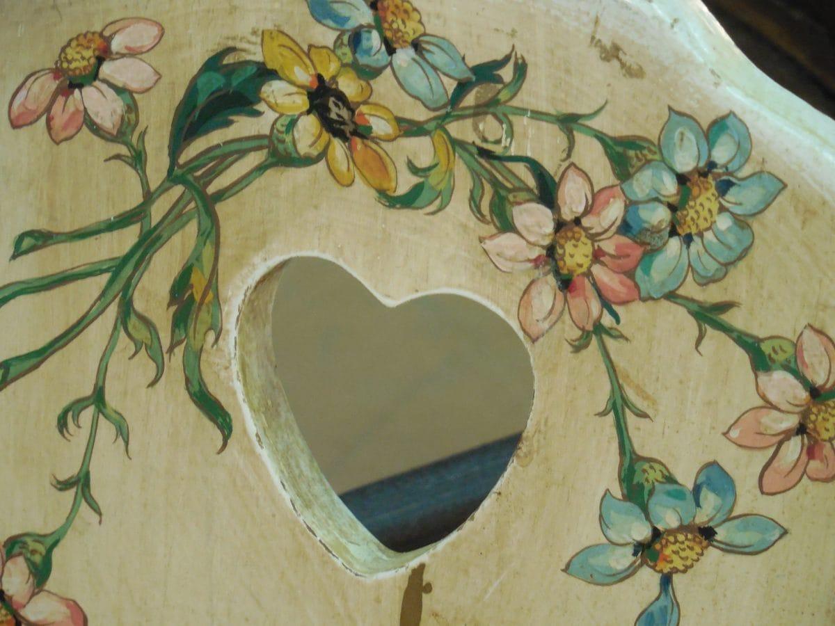 decoupe, nábytek, srdce, ilustrace, květina, retro, umění, design