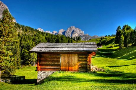 mountain, house, landscape, grass, wood, tree, barn, structure