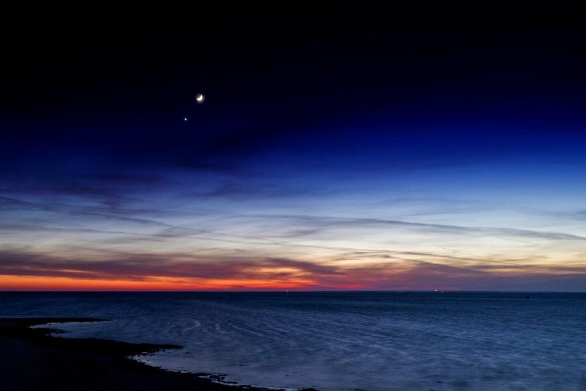 Dawn, taivas, auringon lasku, luonto, vesi, kuu, hämärä, aurinko, ulkoilu