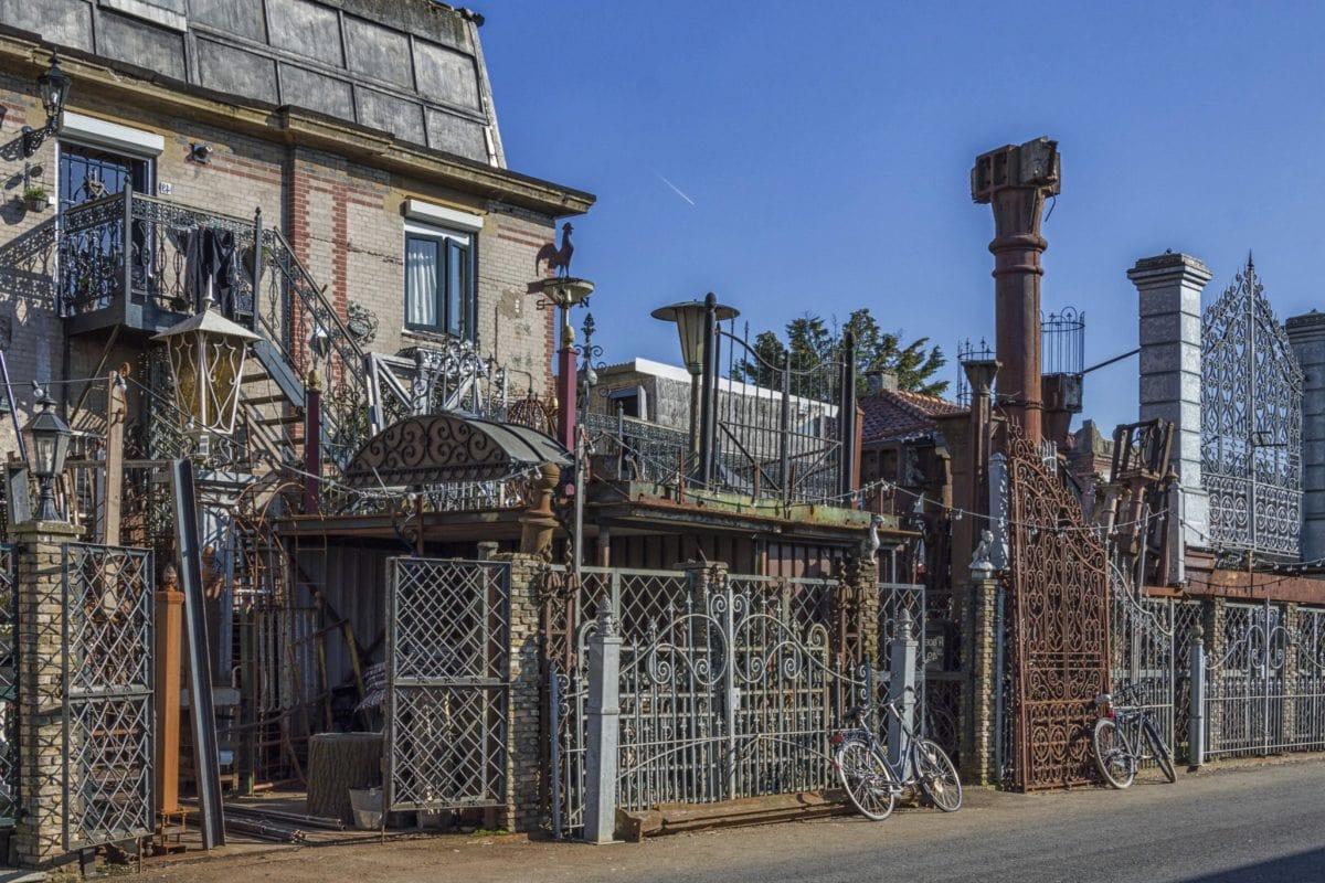 Żeliwo, ogrodzenie, zewnętrzne, dom, ręcznie, architektura, uliczne, Plener