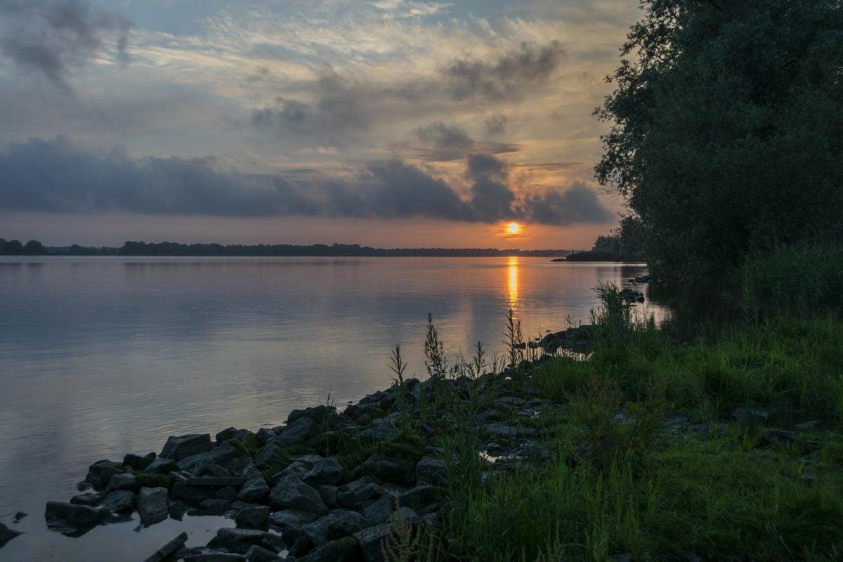 lake, dawn, reflection, sunset, landscape, water, lakeside