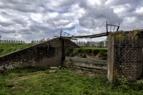 fence, old, grass, war, wire, landscape, old bridge, structure