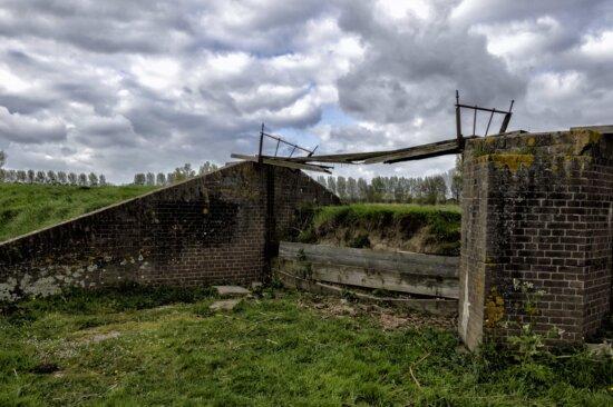 fence, old, grass, war, wire, landscape, old bridge, structure