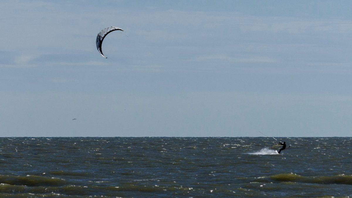 seashore, surfing sport, parachute, blue sky, water, ocean, beach, landscape, sea