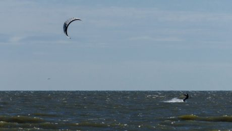 seashore, surfing sport, parachute, blue sky, water, ocean, beach, landscape, sea