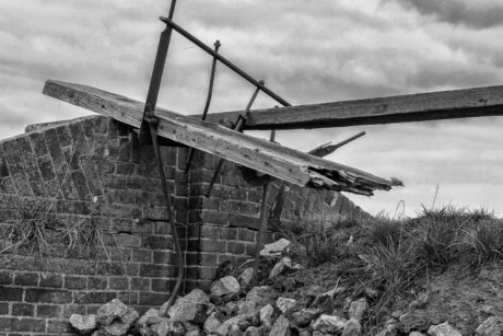 bridge, outdoor, old, brick wall, monochrome, structure, sky