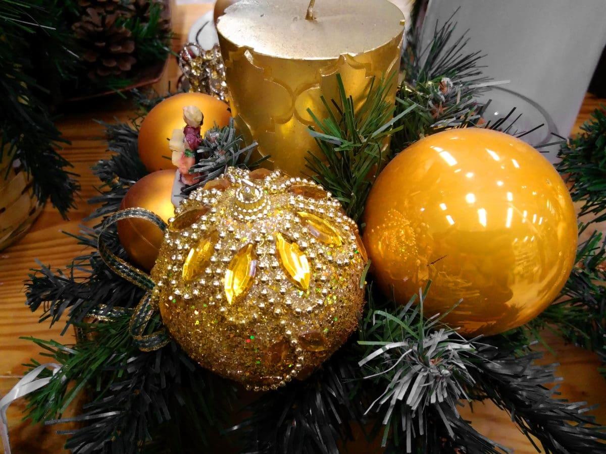 Vánoční dekorace, svíčka, luxus, objekt, stín, odraz