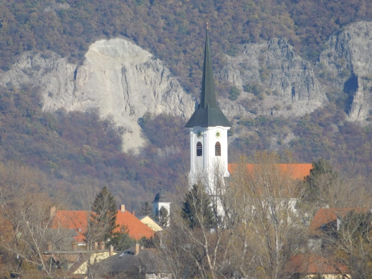 landscape, tree, mountain, church tower, sky, architecture